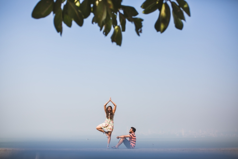 namaste india | yoga practise at marine drive | nariman point | nature at its best | couple shoot